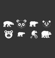 bear icon set grey vector image