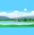 beautiful landscape with house on lake forest vector image