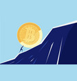 businessman pushing a big bitcoin up the hill vector image vector image