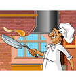 cartoon cheerful cook with a frying pan vector image vector image