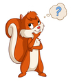 Cartoon cute squirrel thinking vector image vector image