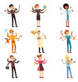cartoon flat multitasking characters set men and vector image vector image