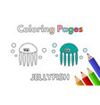 cartoon jellyfish coloring book vector image vector image