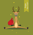 Christmas card bearded deer vector image