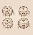 city postmarks old faded retro styled impress vector image vector image