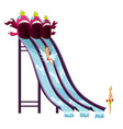 colorful aquapark waterslide with playing children vector image