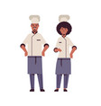 cooks couple professional chefs standing together vector image vector image