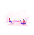 couple girl friends sitting at table with food vector image