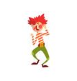 cute funny clown cartoon character having fun vector image vector image