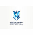 cyber security shield creative symbol concept vector image vector image
