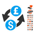 dollar pound exchange icon with lovely bonus vector image vector image