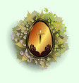 easter egg with a gold frame with a wreath of vector image vector image