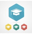 Education Cup flat icon Graduation Cap vector image vector image