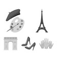 eiffel tower brush hat france country set vector image vector image