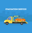 evacuation service banner template tow truck vector image vector image