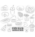 fast food cartoon icons and objects set black and vector image vector image