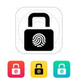 Fingerprint secure lock icon vector image vector image