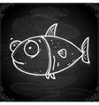 Fish Drawing on Chalk Board vector image vector image