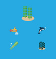 flat icon sea set of playful fish periscope vector image vector image