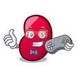 gamer jelly bean mascot cartoon vector image