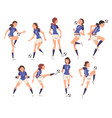 girls soccer players characters collection young vector image vector image