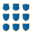gold-blue shield shape icons set bright logo vector image vector image