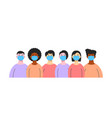 group different people wearing medical masks vector image