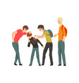group of young people mocking a boy conflict vector image vector image