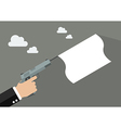 Hand holding handgun with a white flag vector image vector image