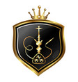 hookah golden symbol on shield vector image vector image