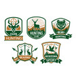hunting club icons or badges set vector image vector image