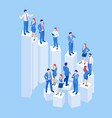 isometric business people on steps success vector image