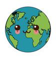 kawaii world earth global map continent geography vector image vector image