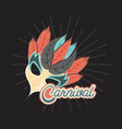 masquerade party mask carnival with feathers vector image