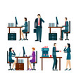 office worker icons set with business people vector image