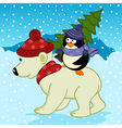 penguin holding spruce on polar bear vector image vector image