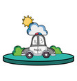 police car service with cloud and sun vector image vector image