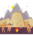 primitive people cartoon characters stone age vector image