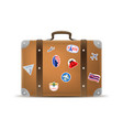 realistic 3d detailed vintage leather suitcase vector image