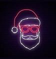 santa claus neon sign bright signboard vector image vector image