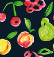seamless pattern fruit watercolor vector image vector image