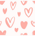 seamless pattern with hand drawn pink hearts vector image