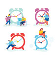 set businesspeople and huge clock business vector image vector image
