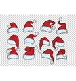 set Christmas hats Santa Claus vector image