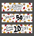 set three nature banners with colorful autumn vector image vector image