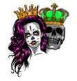 skull king and queen love couple vector image