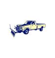 Snow Plow Truck Woodcut vector image vector image