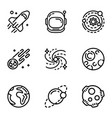 space galaxy icon set outline style vector image