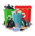 steel garbage bin full of trash vector image vector image