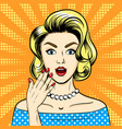 surprised woman pop art style vector image vector image